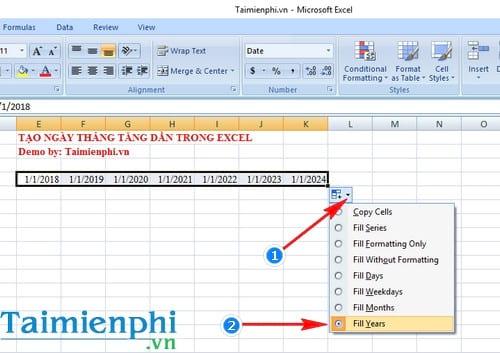 Cách tạo ngày tháng tăng dần trong Excel 5