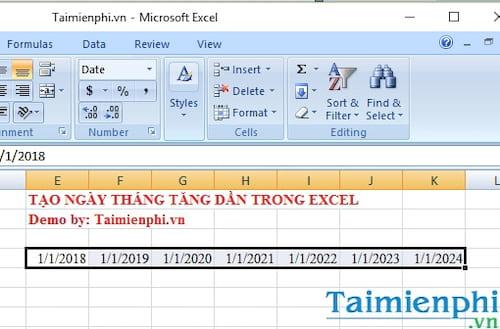 Cách tạo ngày tháng tăng dần trong Excel 6