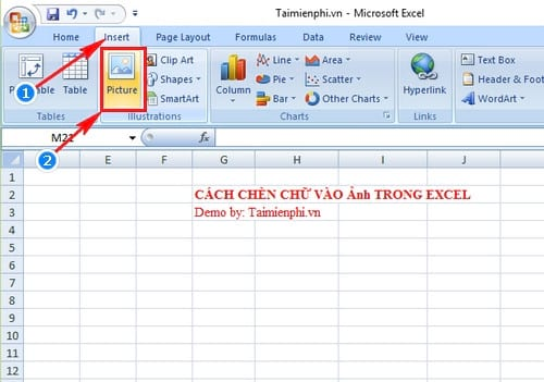 cach chen chu vao anh trong excel
