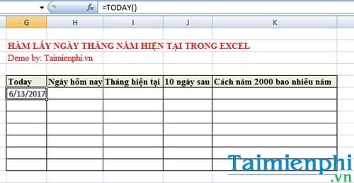Hàm lấy ngày tháng năm hiện tại trong Excel là hàm nào? 2