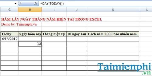 Hàm lấy ngày tháng năm hiện tại trong Excel là hàm nào? 3