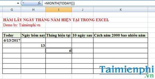 Hàm lấy ngày tháng năm hiện tại trong Excel là hàm nào? 4