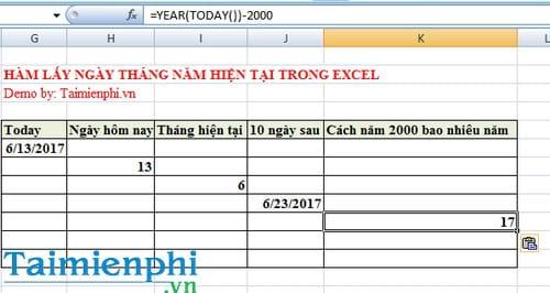 Hàm lấy ngày tháng năm hiện tại trong Excel là hàm nào? 6
