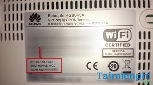 Mật khẩu mặc định của modem hg8045a Huawei VNPT
