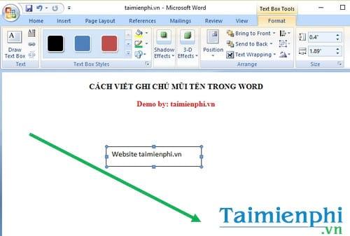 Cách viết ghi chú mũi tên trong Word 2
