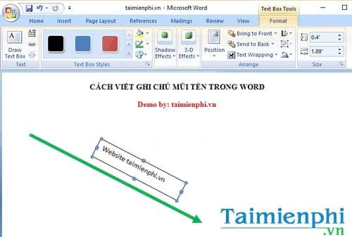 Cách viết ghi chú mũi tên trong Word 3