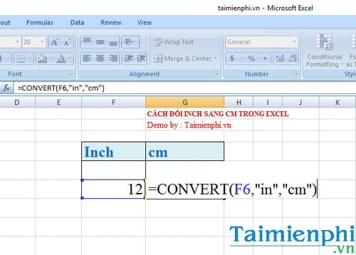 cach doi inch sang cm trong excel