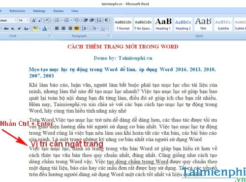 cach them trang moi trong word