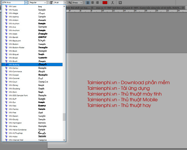 cach go font vni trong photoshop 9