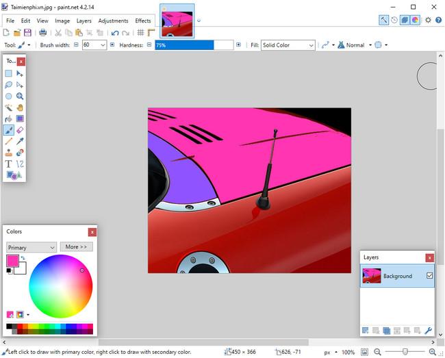 Cách đổi màu ảnh trong Paint.Net