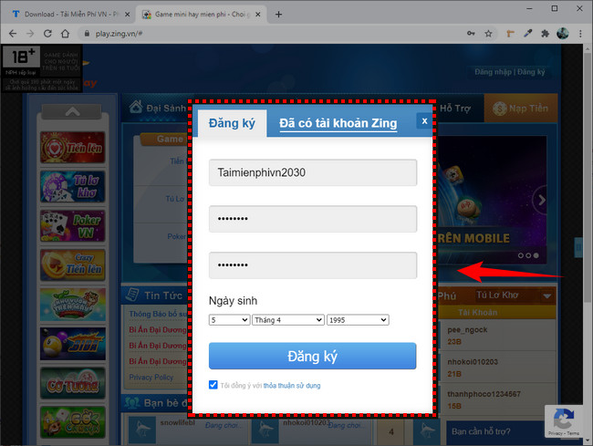 zing play account registration