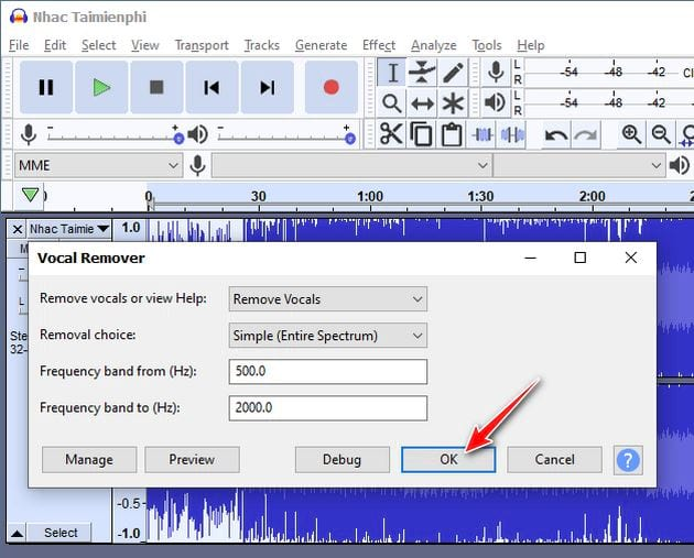 How to listen to songs by bang audacity 5