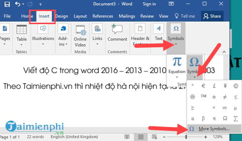 Viết độ C trong Word, Excel, Powerpoint  6