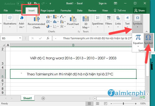 Viết độ C trong Word, Excel, Powerpoint  8
