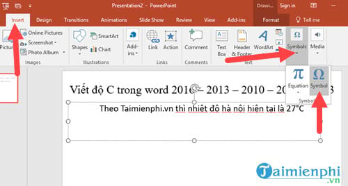 Viết độ C trong Word, Excel, Powerpoint  10