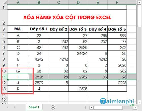 Cách xoá hàng, cột trong Excel bằng chuột hoặc phím 9