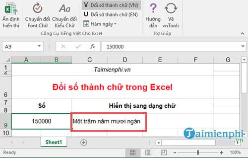 Cách đổi số thành chữ trong bảng tính Excel bằng VnTools 2010, 2013, 2007, 2003, 2016  31