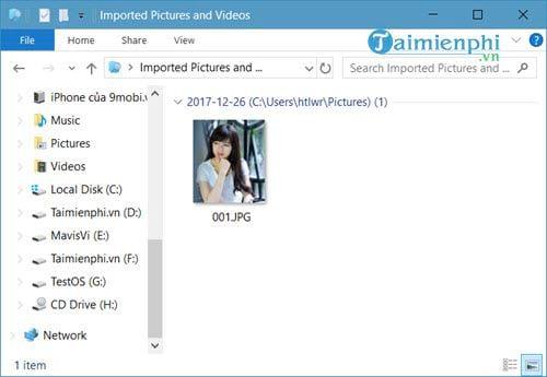 Chuyển hình ảnh từ iPhone sang Windows 10 11