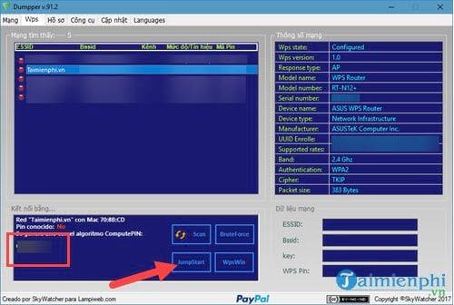 Bộ phần mềm dò tìm pass wifi JumpStart và Dumpper 8