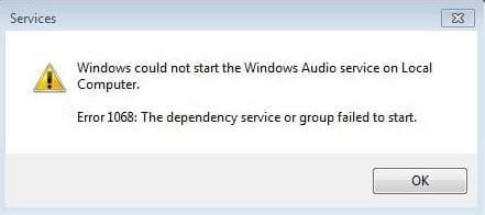 cach sua loi 1068 windows audio service tren windows 7