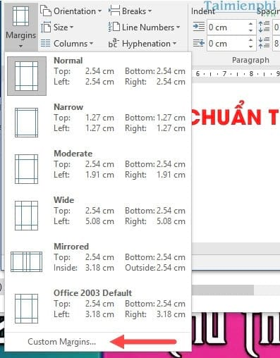can le chuan trong word can chinh van ban word 2003 2007 2010 2013 2016 5