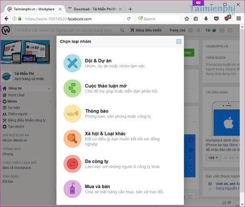 Cách tạo nhóm trên Facebook Workplace