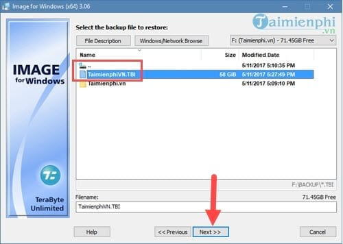 Tạo file ghost, bung file ghost cực dễ với TeraByte 11