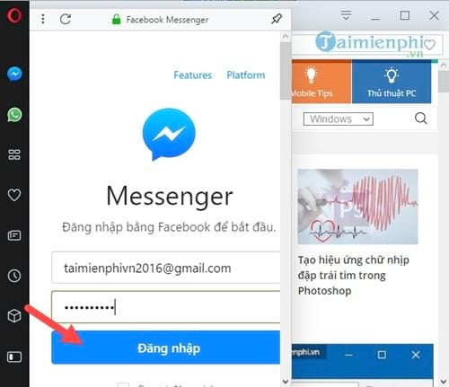 Cách sử dụng Facebook Messenger trên Opera