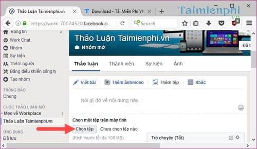 Xử lý tệp đính kèm trên Facebook Workplace, gửi, tải, xem