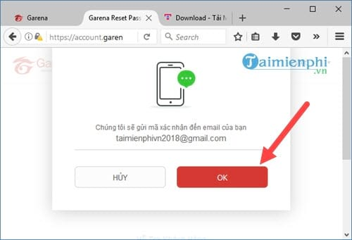 Cách lấy lại mật khẩu Garena bằng Email, Gmail 4