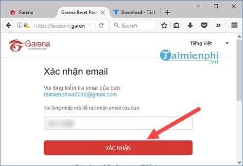 Cách lấy lại mật khẩu Garena bằng Email, Gmail 6