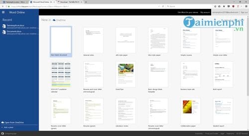Word Online, cách dùng, soạn thảo, lưu văn bản, xem lại văn bản 14