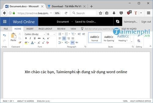 Word Online, cách dùng, soạn thảo, lưu văn bản, xem lại văn bản 6