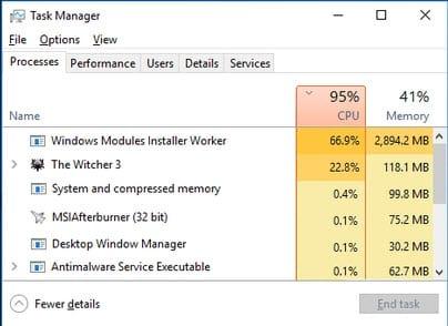 cach sua loi windows modules installer worker ngon nhieu cpu tren windows 10