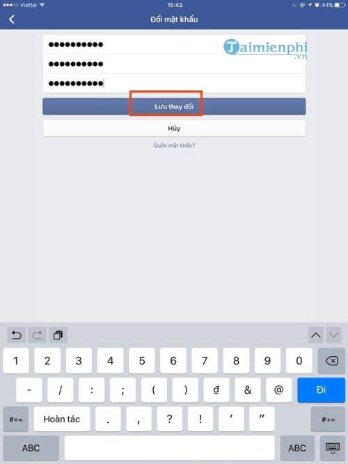 Cách đổi mật khẩu Facebook trên iPad