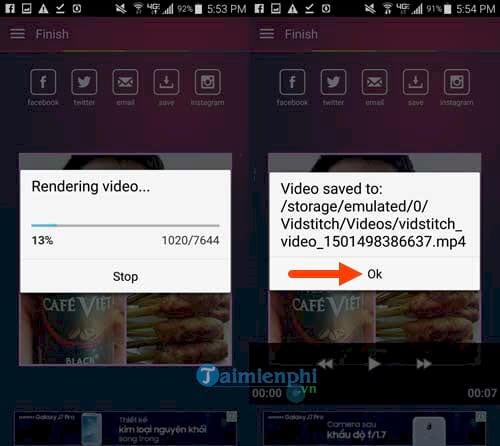 Chỉnh sửa video trên Android, chỉnh sửa video bằng VidStich