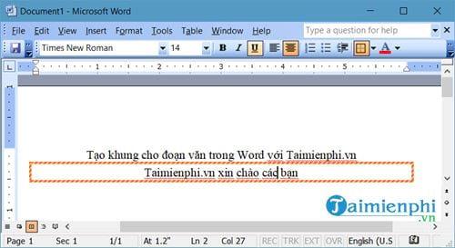 Cách tạo khung cho đoạn văn bản trong Word 10