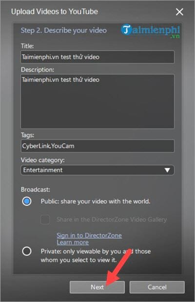 Connect to the youtube facebook account on cyberlink youcam 10