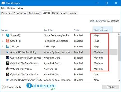 Cách tắt các chương trình khởi động cùng Windows 10 3