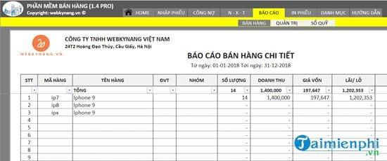Phần mềm bán hàng bằng Excel miễn phí 4