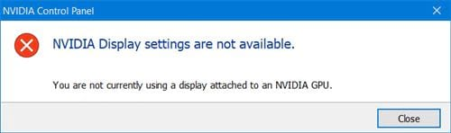 Cách sửa lỗi Nvidia Display setting are not available