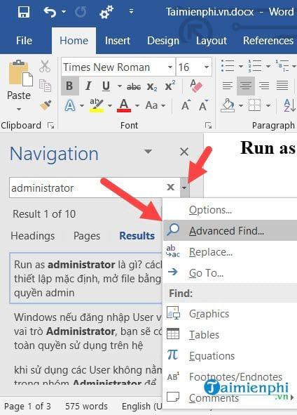 cach su dung navigation pane trong word 8