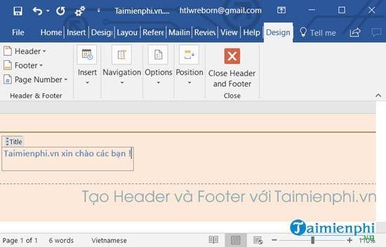 Cách chèn Header, Footer trong Word, tạo thêm Header và Footer 3
