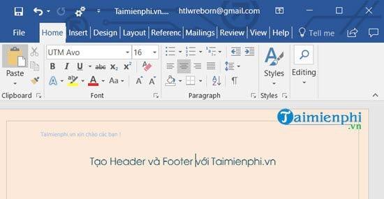 Cách chèn Header, Footer trong Word, tạo thêm Header và Footer 6