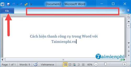 Cách hiện thanh công cụ trong Word 11