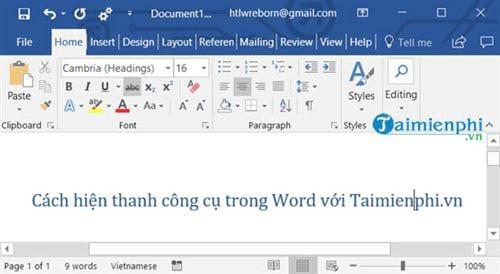 Cách hiện thanh công cụ trong Word 3