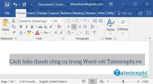 Cách hiện thanh công cụ trong Word 8
