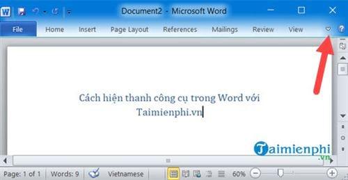 Cách hiện thanh công cụ trong Word 9