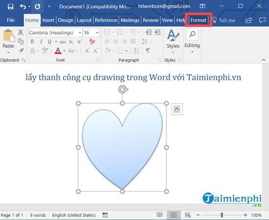 Cách lấy thanh công cụ drawing trong Word 4