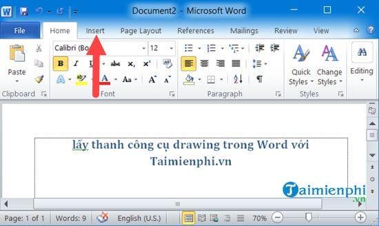 Cách lấy thanh công cụ drawing trong Word 5
